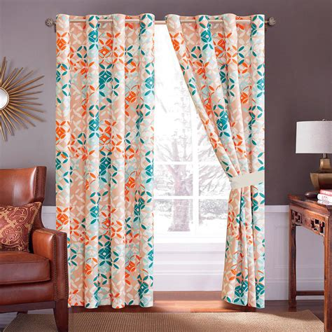 Teal Floral Curtains 4 Pc Floral Medallion Leaves Curtain Set Teal Green Orange Apricot White Grommet Ebay