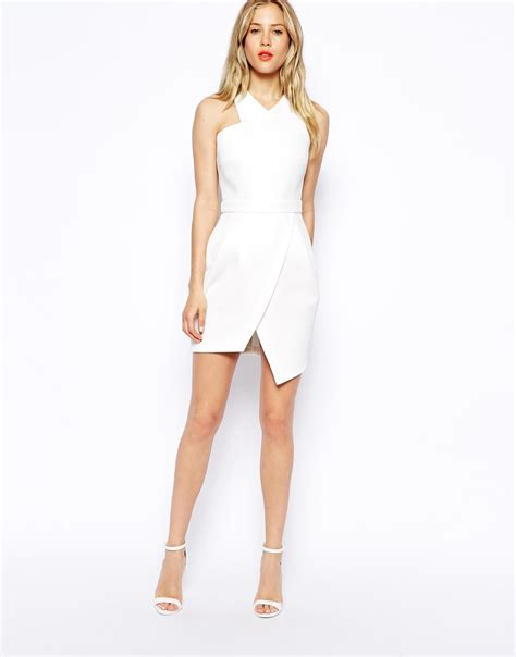 Asimetris Dress Asos Asymmetric Dress With Step Hem In White Lyst