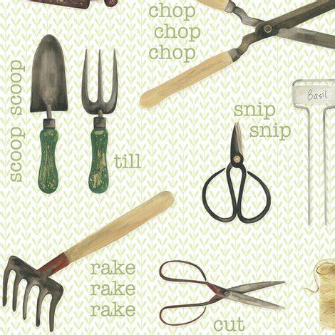 fabric pattern tools gardening tools fabric jillbyers spoonflower