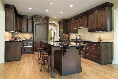 Dark Wood Cabinets Kitchen Luxury Kitchen Ideas Counters Backsplash Amp Cabinets