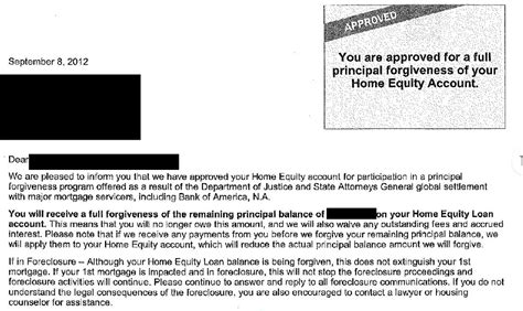 Mortgage Letter In Principle Did Bank Of America Forgive Your Loan And Your Credit