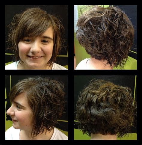 hair stacked straight front curly back stacked curly bob haircut short curly haircut by becky