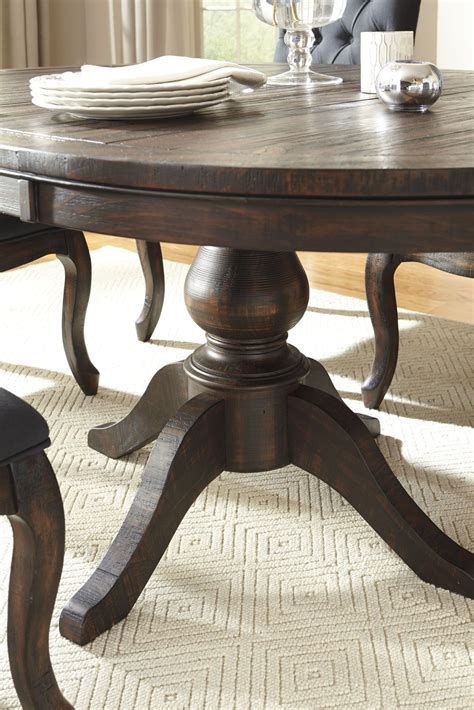 brown round extendable dining table trudell dark brown round extendable pedestal dining table