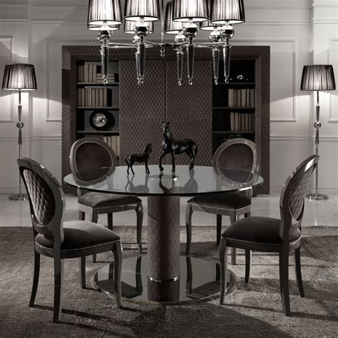 italian nubuck leather round glass dining and chairs set