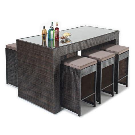 wicker garden bar set 6 padded stools 220x80cm bar