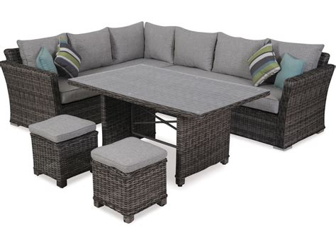 outdoor furniture settings bahamas 5 pce corner low dining setting