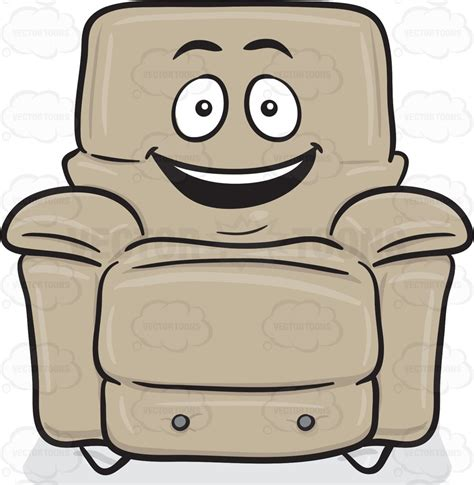 Stuffed chair with delighted look on face emoji cartoon clipart vector toons