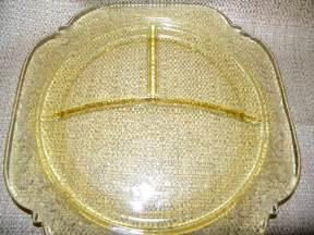 Bathroom Decoration Sets Depression Glass Divided Plate Madrid Pattern In Amber