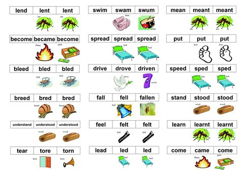 rhymes with irregular verbs in picture rhymes to learn to learn