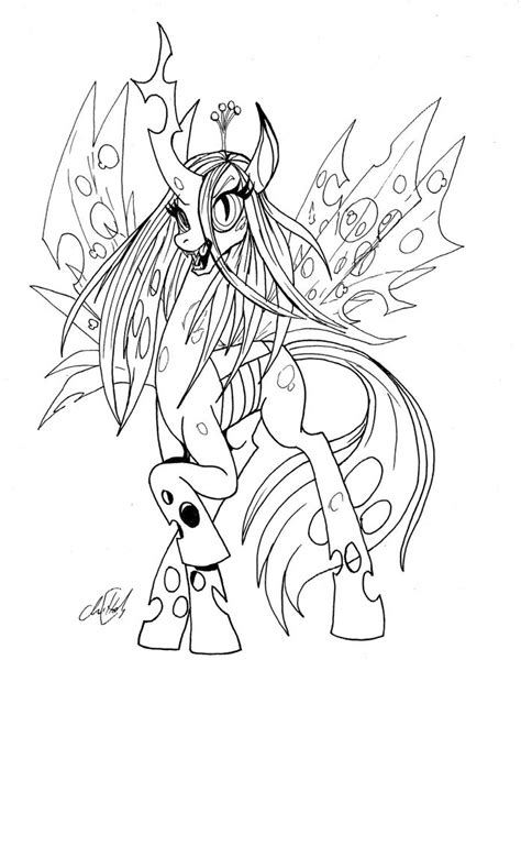 my little pony king sombra coloring pages queen chrysalis bw by chrisholm on deviantart