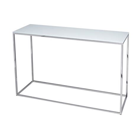 Silver Console Table White Glass And Silver Metal Contemporary Console Table