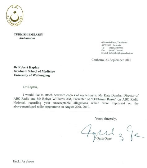 Turkish Embassy Letters The Letter From The Turkish Ambassador To Australia To Dr Robert Kaplan