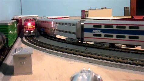 santa fe layout youtube a metra train overtakes a santa fe grain train on the