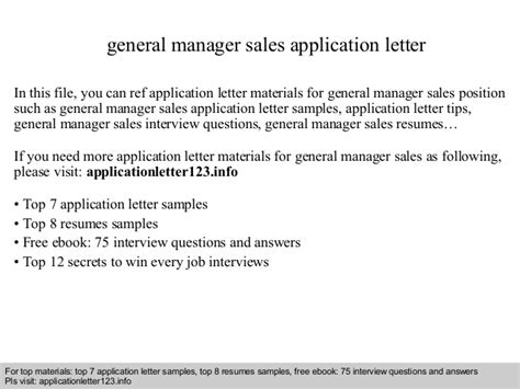 Offer Letter General Manager general manager sales application letter