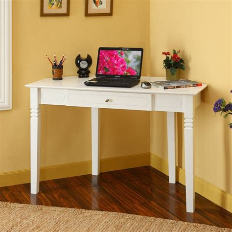 White Desks For Bedrooms by Corner Desks For Small Spaces White Corner Desk With One Drawer For Small Bedrooms Living