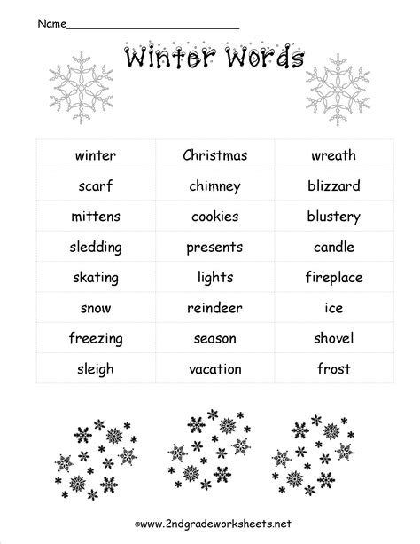 themes word list winter lesson plans themes printouts crafts