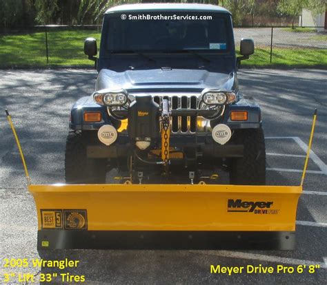 jeep wrangler plow smith brothers services lifted jeep wrangler tj meyer