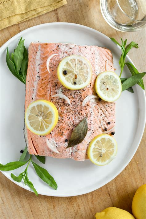 poached salmon recipes recipe slow cooker poached salmon with lemons fresh
