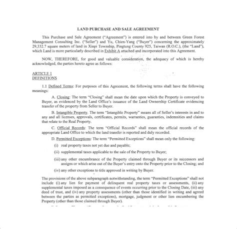 land sale agreement template 17 sle land purchase agreement templates to