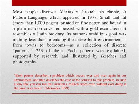 pattern language christopher alexander ppt christopher alexander do you see a pattern