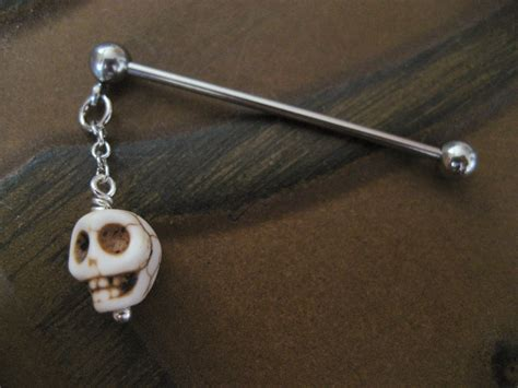 industrial barbell piercing jewelry white by azeetadesigns