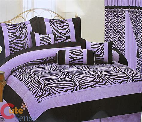 Purple Zebra Bed Set Zebra Size Comforter 7pc Bedding Set Black Violet