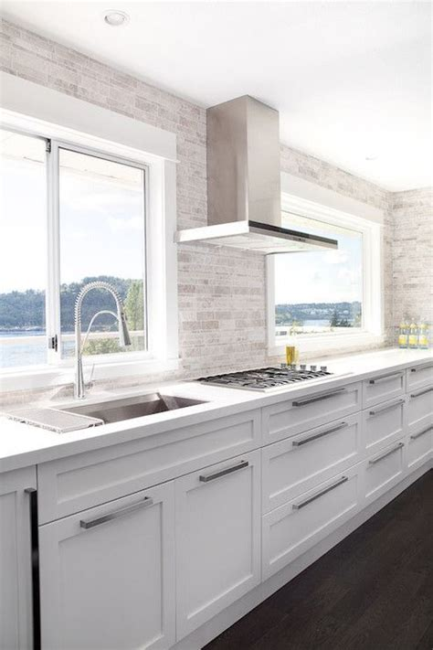 modern white kitchen backsplash contemporary white kitchen linear mosaic backsplash