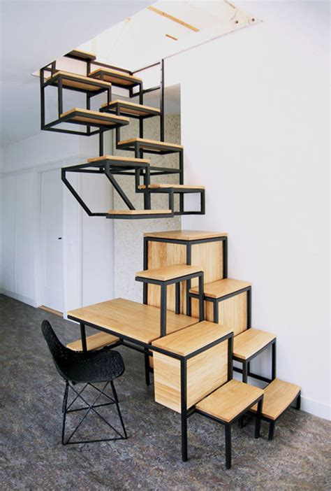 The Stairs Desk by Suspended Staircase Provides Desk And Shelf Space Geekologie