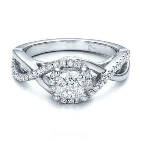 custom princess cut halo engagement ring 100790