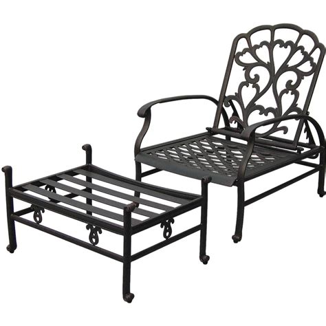 patio chairs with ottoman darlee catalina cast aluminum patio reclining club chair