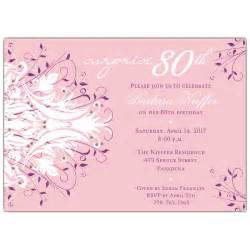 80th birthday invitations templates andromeda pink 80th birthday invitations paperstyle