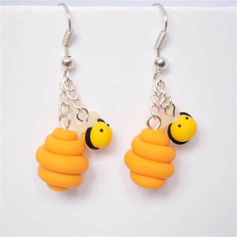polymer clay bumblebee beehive earrings by linnypig on deviantart