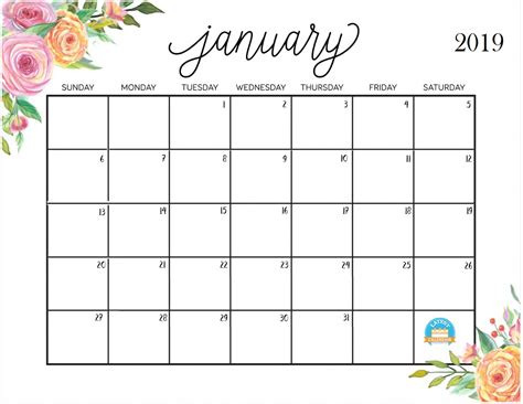 printable calendar pretty printable january 2019 calendar latest calendar
