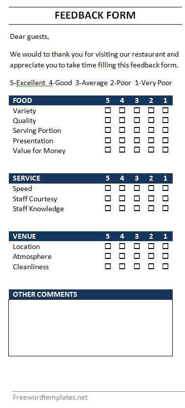 Restaurant Feedback Form Restaurant Customer Feedback Form Template