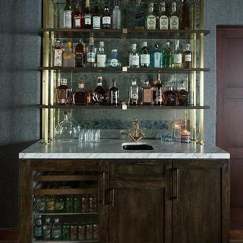 bar mirror with shelves blue bar cabinets with glossy black backsplash tiles contemporary kitchen