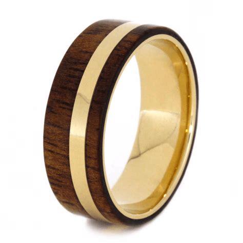 14k yellow gold koa wood wedding band custom ring