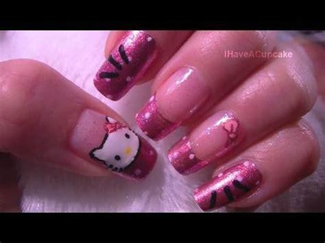 tutorial nail art hello kitty easy hello kitty nail art tutorial youtube