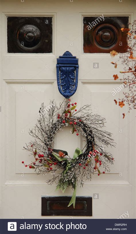 how to make a christmas door hanging on youtube wreath hanging on front door of traditional country stock photo royalty free