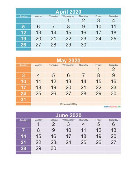 printable  month calendar  april  june  printable  calendar  holidays