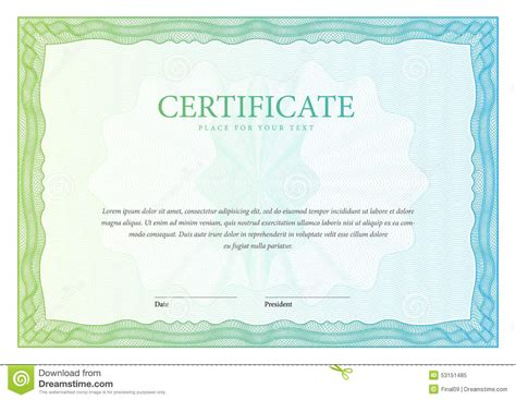 money certificate template certificate template diplomas currency vector stock