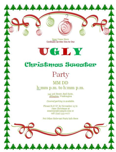 Ugly Christmas Sweater Party Ideas The Ultimate Guide Sweater Invitation Templates Free