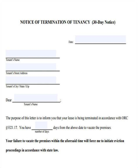 printable 30 day eviction notice 30 day eviction notice template template business