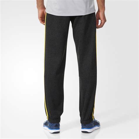 Adidas Essentials 3 Stripes Grey Original adidas essentials 3 stripes mens grey climalite running sports bottoms ebay