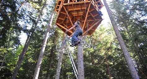 an ingenious bicycle powered treehouse elevator lifts a