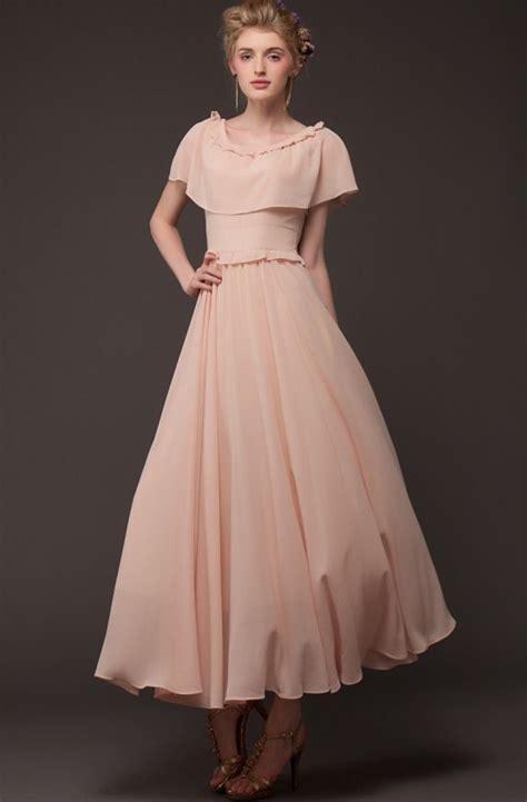 Maxidress Vintage pink cape vintage pleated maxi dress abaday