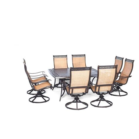 Swivel Rocker Patio Dining Sets Hanover Manor 9 Square Patio Dining Set With Eight Swivel Rockers Mandn9pcswsq 8 The