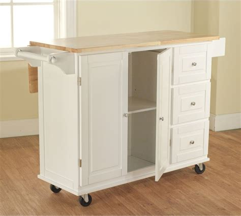 White Kitchen Cart W Storage Wood Drop Leaf Island Serving Kitchen Storage Carts Cabinets