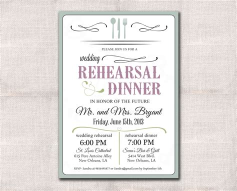 dinner invitation sle wedding rehearsal dinner invitation custom printable 5x7