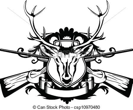 vector of head artiodactyl and crossed guns vector