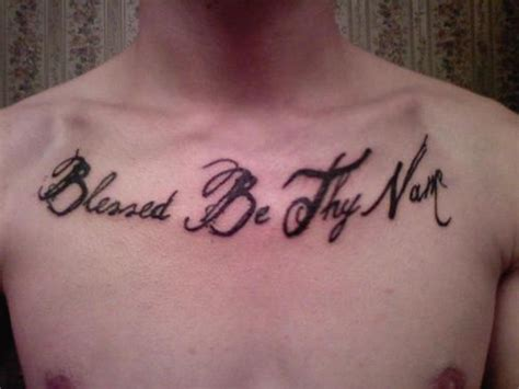 blessed be chest lettering tattoo tattooshunt com